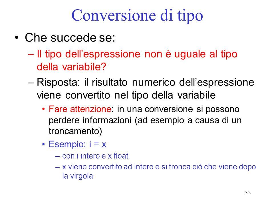 32 Conversione di tipo Che succede se: –Il tipo dellespressione non è uguale al tipo della variabile? –Risposta: il risultato numerico dellespressione