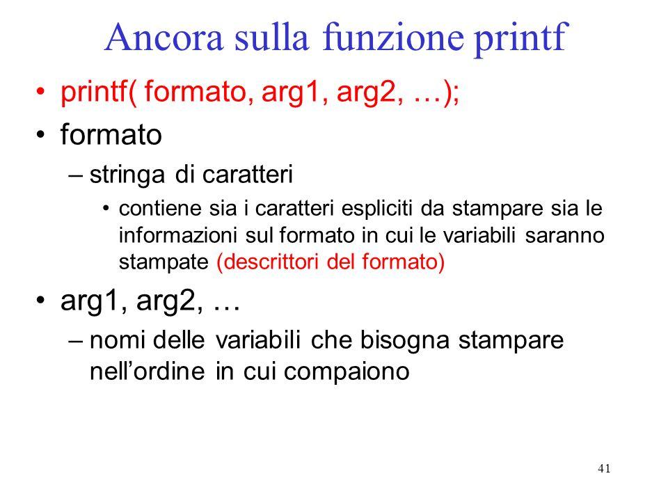 41 Ancora sulla funzione printf printf( formato, arg1, arg2, …); formato –stringa di caratteri contiene sia i caratteri espliciti da stampare sia le i