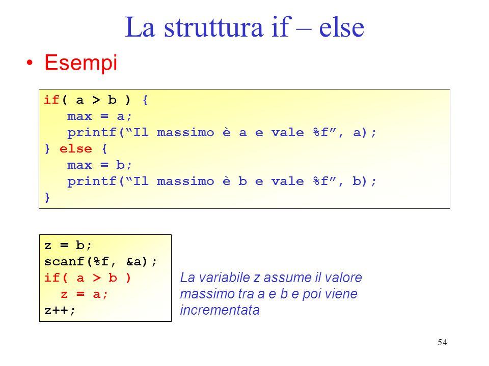 54 La struttura if – else Esempi if( a > b ) { max = a; printf(Il massimo è a e vale %f, a); } else { max = b; printf(Il massimo è b e vale %f, b); }