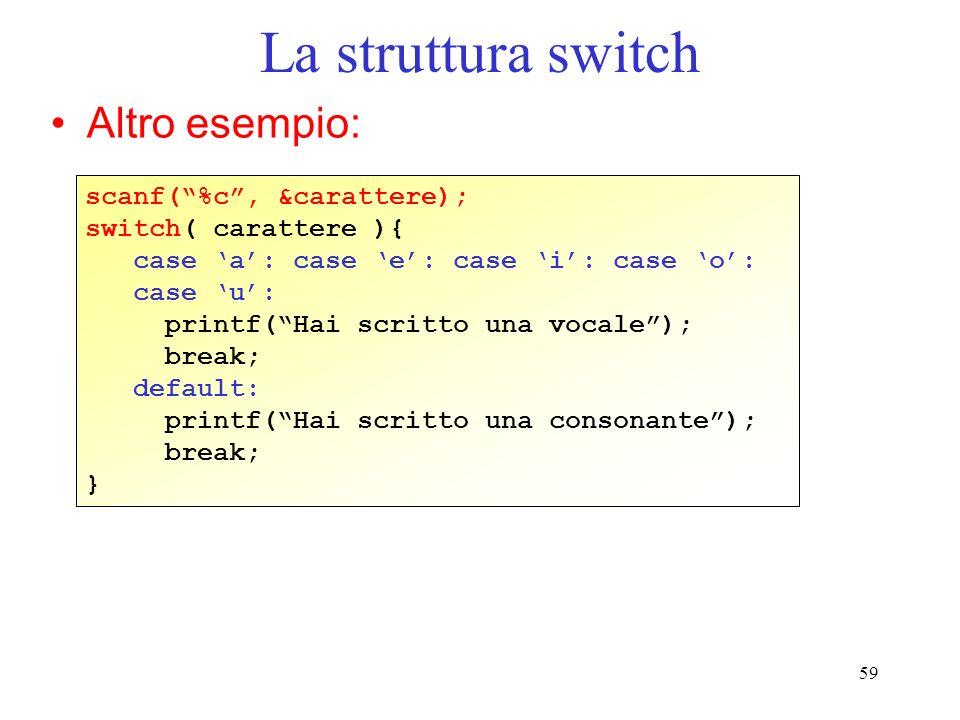 59 La struttura switch Altro esempio: scanf(%c, &carattere); switch( carattere ){ case a: case e: case i: case o: case u: printf(Hai scritto una vocal