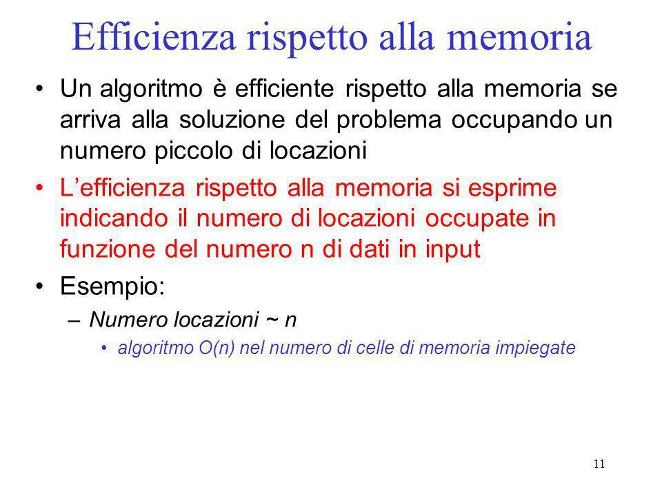 11 Efficienza rispetto alla memoria Un algoritmo è efficiente rispetto alla memoria se arriva alla soluzione del problema occupando un numero piccolo