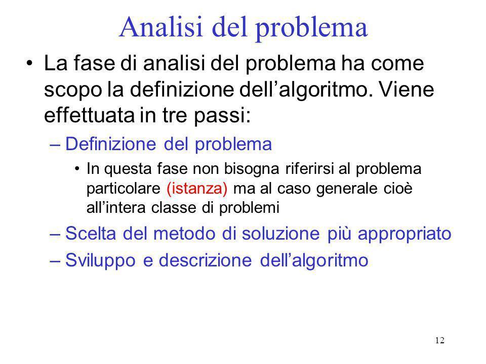 12 Analisi del problema La fase di analisi del problema ha come scopo la definizione dellalgoritmo. Viene effettuata in tre passi: –Definizione del pr