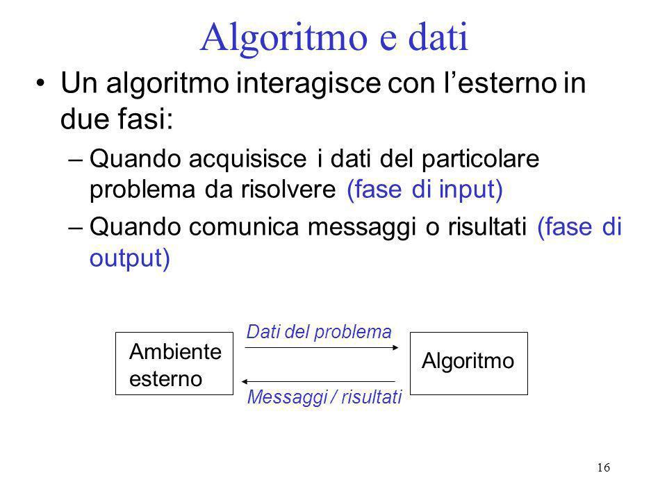16 Algoritmo e dati Un algoritmo interagisce con lesterno in due fasi: –Quando acquisisce i dati del particolare problema da risolvere (fase di input)