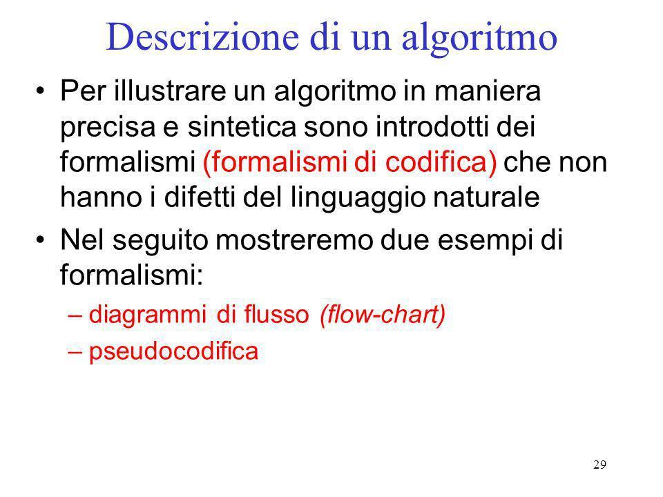 29 Descrizione di un algoritmo Per illustrare un algoritmo in maniera precisa e sintetica sono introdotti dei formalismi (formalismi di codifica) che