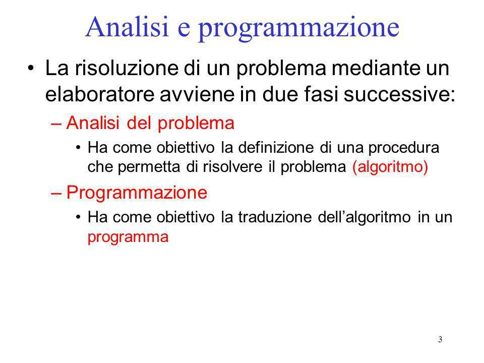 3 Analisi e programmazione La risoluzione di un problema mediante un elaboratore avviene in due fasi successive: –Analisi del problema Ha come obietti