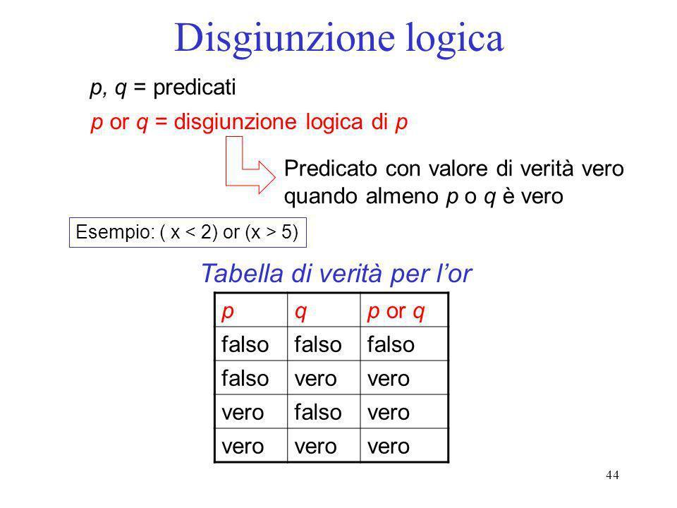44 Disgiunzione logica p, q = predicati p or q = disgiunzione logica di p Predicato con valore di verità vero quando almeno p o q è vero Esempio: ( x
