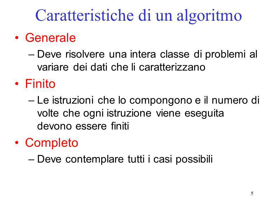 5 Caratteristiche di un algoritmo Generale –Deve risolvere una intera classe di problemi al variare dei dati che li caratterizzano Finito –Le istruzio