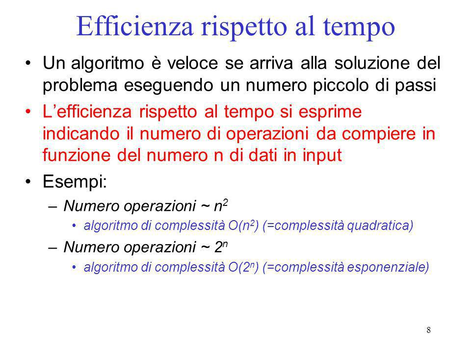8 Efficienza rispetto al tempo Un algoritmo è veloce se arriva alla soluzione del problema eseguendo un numero piccolo di passi Lefficienza rispetto a