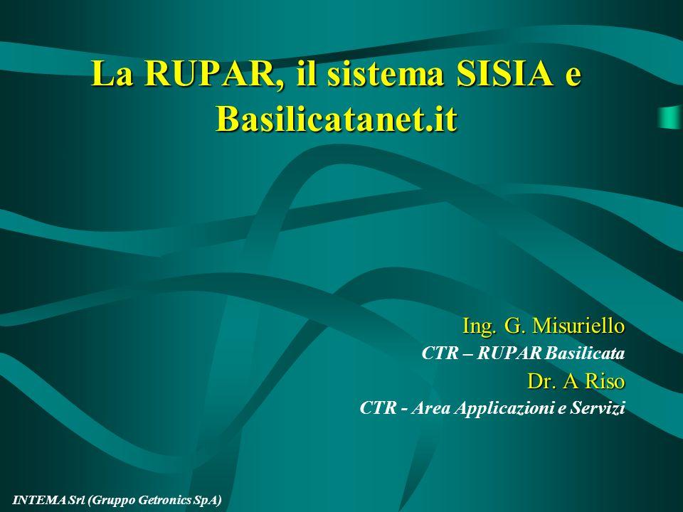 INTEMA Srl (Gruppo Getronics SpA) La RUPAR, il sistema SISIA e Basilicatanet.it Ing.