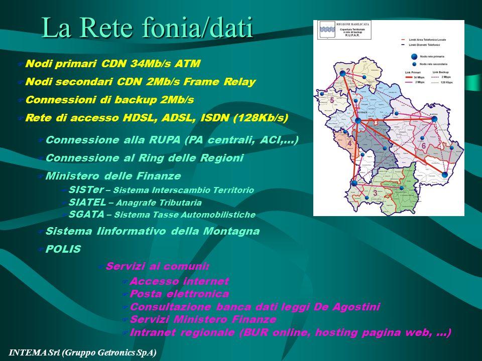 INTEMA Srl (Gruppo Getronics SpA) Progetto RUPAR Sottoprogetto RUPAR: realizzazione dellinfrastruttura Sottoprogetto RAD: adeguamento delle reti inter