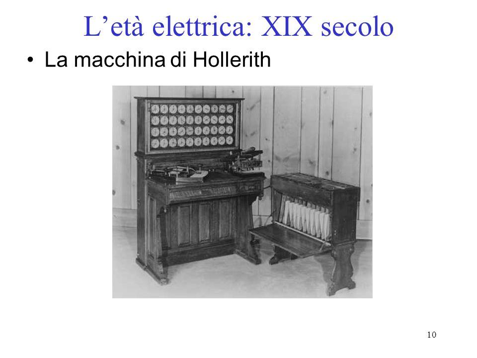 10 Letà elettrica: XIX secolo La macchina di Hollerith