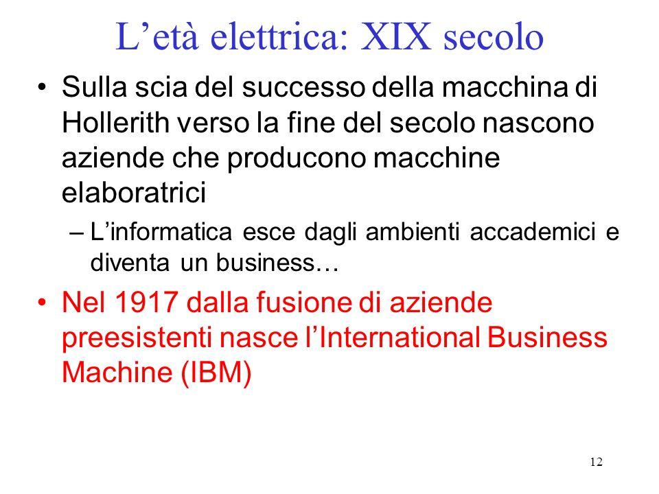 12 Letà elettrica: XIX secolo Sulla scia del successo della macchina di Hollerith verso la fine del secolo nascono aziende che producono macchine elab