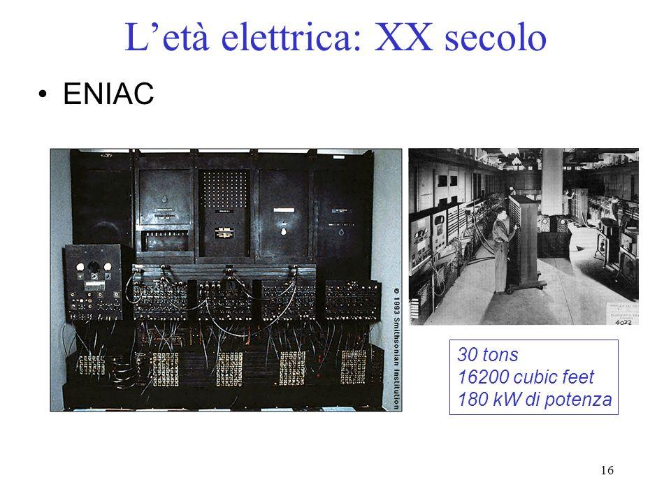 16 Letà elettrica: XX secolo ENIAC 30 tons 16200 cubic feet 180 kW di potenza