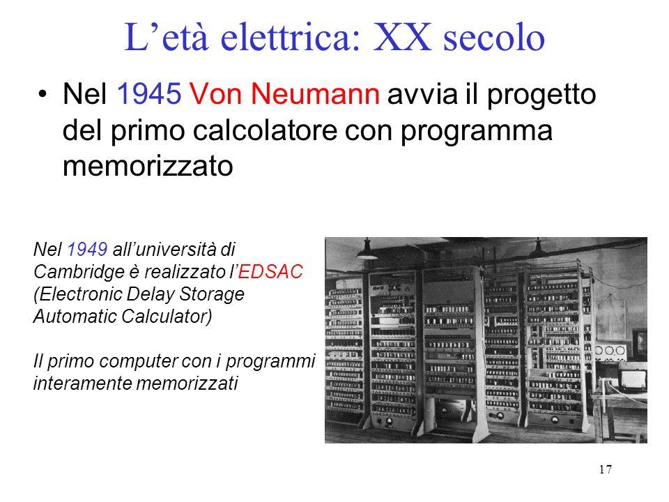 17 Letà elettrica: XX secolo Nel 1945 Von Neumann avvia il progetto del primo calcolatore con programma memorizzato Nel 1949 alluniversità di Cambridge è realizzato lEDSAC (Electronic Delay Storage Automatic Calculator) Il primo computer con i programmi interamente memorizzati