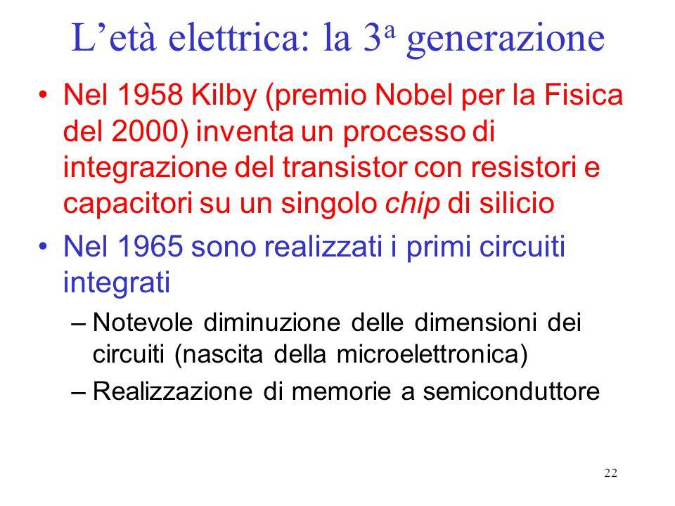 22 Letà elettrica: la 3 a generazione Nel 1958 Kilby (premio Nobel per la Fisica del 2000) inventa un processo di integrazione del transistor con resistori e capacitori su un singolo chip di silicio Nel 1965 sono realizzati i primi circuiti integrati –Notevole diminuzione delle dimensioni dei circuiti (nascita della microelettronica) –Realizzazione di memorie a semiconduttore
