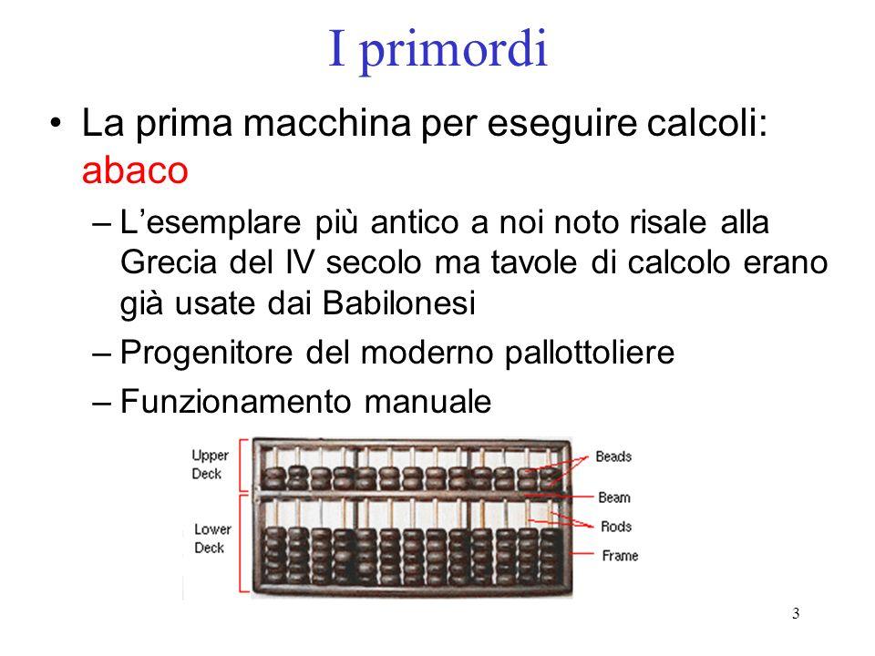 3 I primordi La prima macchina per eseguire calcoli: abaco –Lesemplare più antico a noi noto risale alla Grecia del IV secolo ma tavole di calcolo era