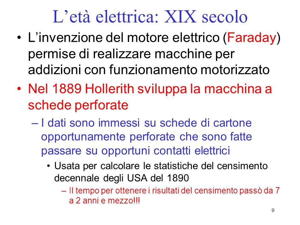 9 Letà elettrica: XIX secolo Linvenzione del motore elettrico (Faraday) permise di realizzare macchine per addizioni con funzionamento motorizzato Nel