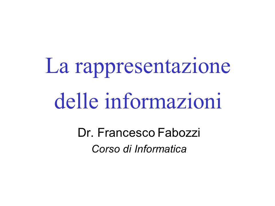 La rappresentazione delle informazioni Dr. Francesco Fabozzi Corso di Informatica