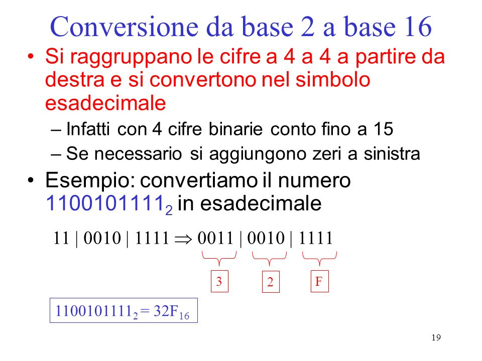 19 Conversione da base 2 a base 16 Si raggruppano le cifre a 4 a 4 a partire da destra e si convertono nel simbolo esadecimale –Infatti con 4 cifre bi