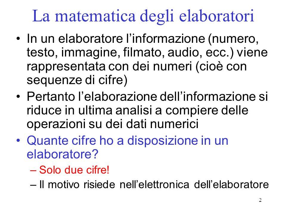 3 La matematica degli elaboratori Lelaboratore è un dispositivo elettronico –I circuiti elementari che lo compongono hanno solo due possibili stati fisici Stato On / Stato Off –A ogni stato fisico è associata una cifra On = 1; Off = 0 Quindi la matematica di un elaboratore utilizza solo 2 cifre (matematica binaria) –I numeri saranno sequenze di 0 e 1 –Una cifra binaria si chiama bit (binary digit)