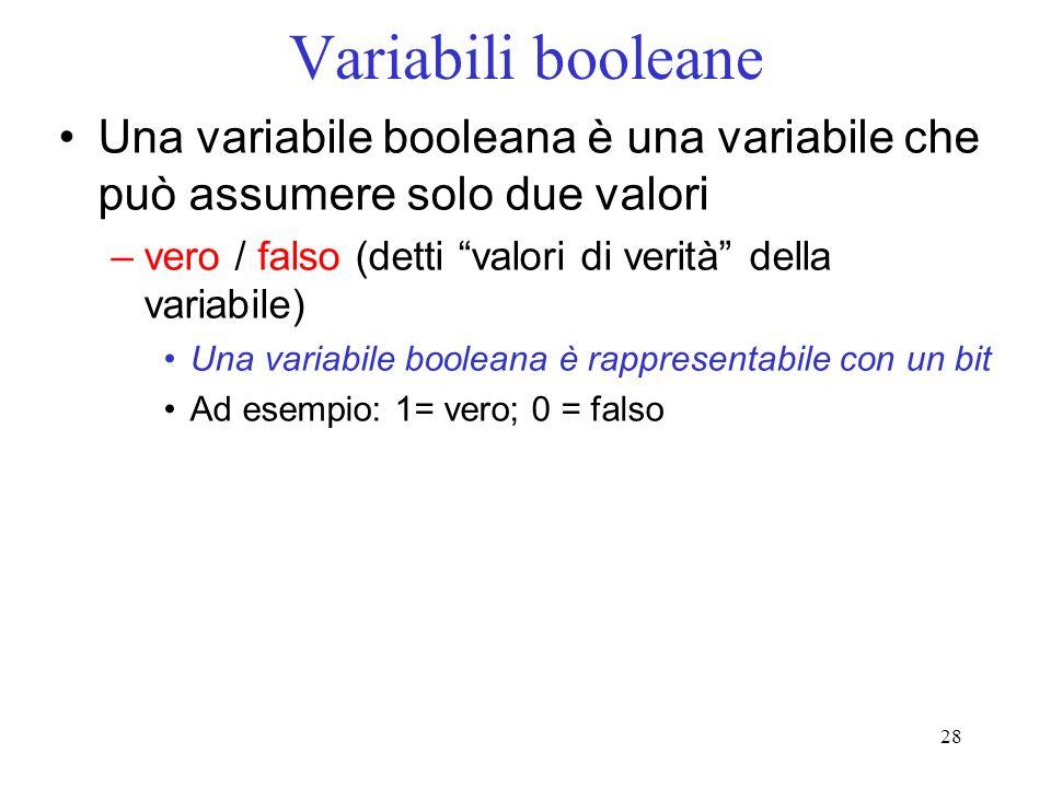 28 Variabili booleane Una variabile booleana è una variabile che può assumere solo due valori –vero / falso (detti valori di verità della variabile) U