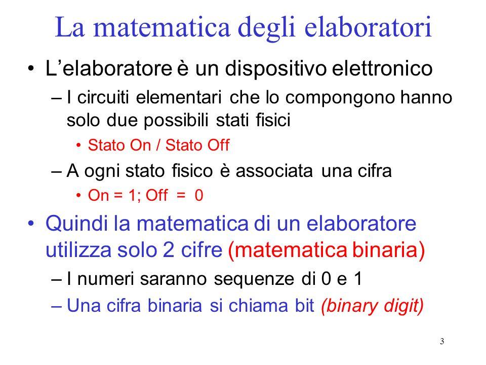 3 La matematica degli elaboratori Lelaboratore è un dispositivo elettronico –I circuiti elementari che lo compongono hanno solo due possibili stati fi
