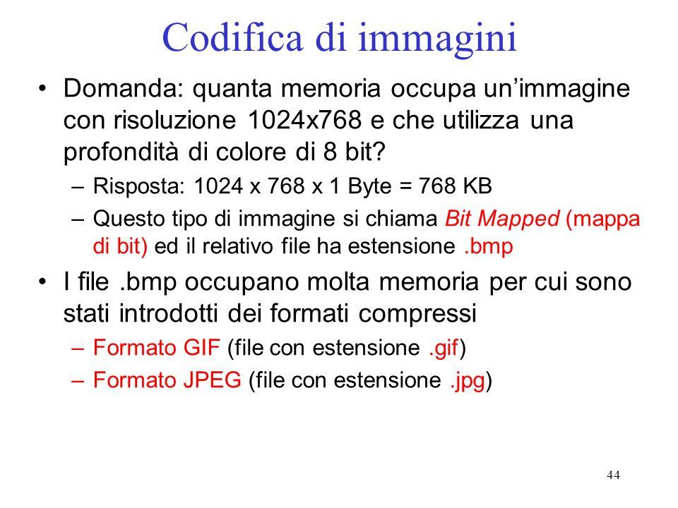 44 Codifica di immagini Domanda: quanta memoria occupa unimmagine con risoluzione 1024x768 e che utilizza una profondità di colore di 8 bit? –Risposta
