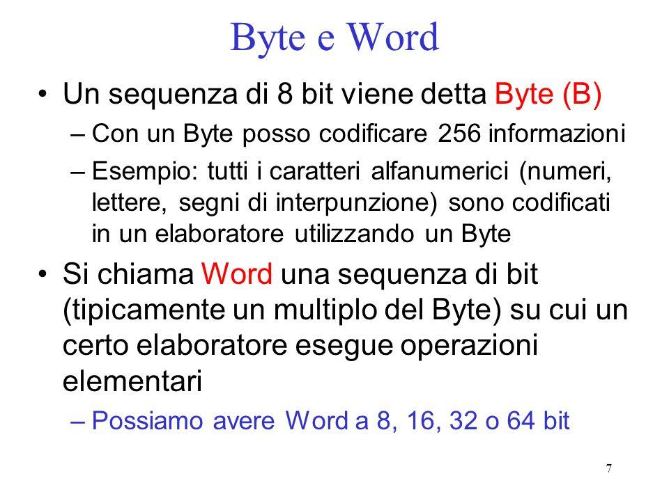7 Byte e Word Un sequenza di 8 bit viene detta Byte (B) –Con un Byte posso codificare 256 informazioni –Esempio: tutti i caratteri alfanumerici (numer