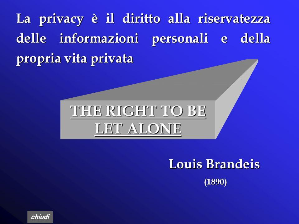 chiudi THE RIGHT TO BE LET ALONE Louis Brandeis (1890) La privacy è il diritto alla riservatezza delle informazioni personali e della propria vita privata