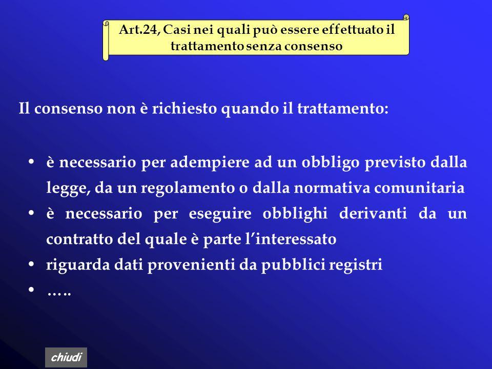 chiudi Art.23, Consenso Il consenso può riguardare lintero trattamento o solo alcune operazioni dello stesso Il consenso è validamente prestato solo s