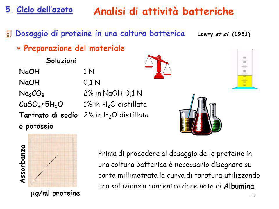 Dosaggio di proteine in una coltura batterica Lowry et al. (1951) Preparazione del materiale Soluzioni NaOH 1 N NaOH 0,1 N Na 2 CO 3 2% in NaOH 0,1 N