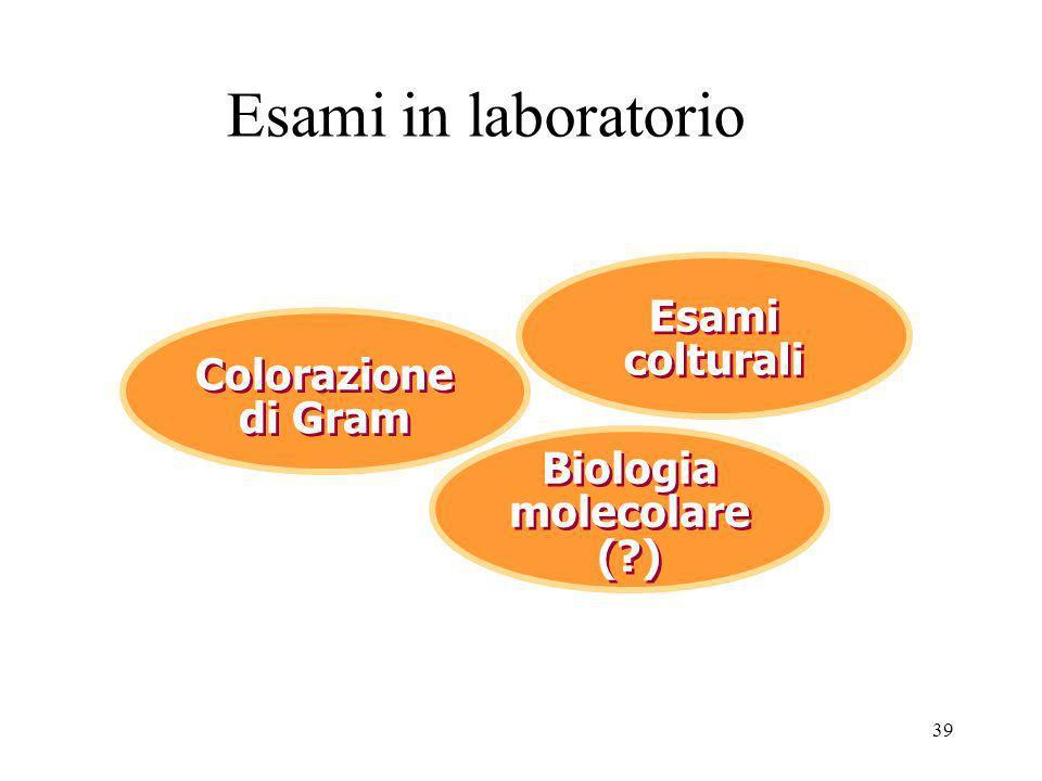 Esami in laboratorio Esami colturali Colorazione di Gram Colorazione di Gram Biologia molecolare (?) 39