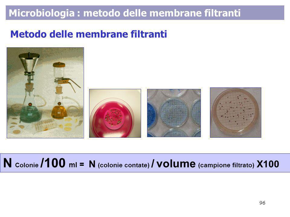 Microbiologia : metodo delle membrane filtranti Metodo delle membrane filtranti N Colonie /100 ml = N (colonie contate) / volume (campione filtrato) X