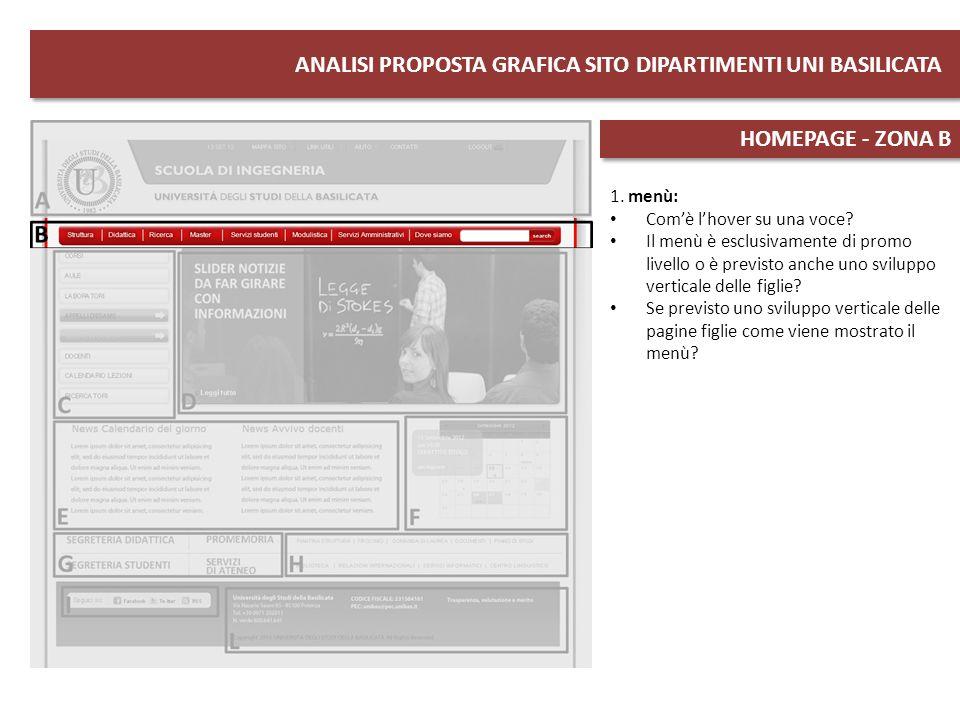 ANALISI PROPOSTA GRAFICA SITO DIPARTIMENTI UNI BASILICATA HOMEPAGE - ZONA C 1.