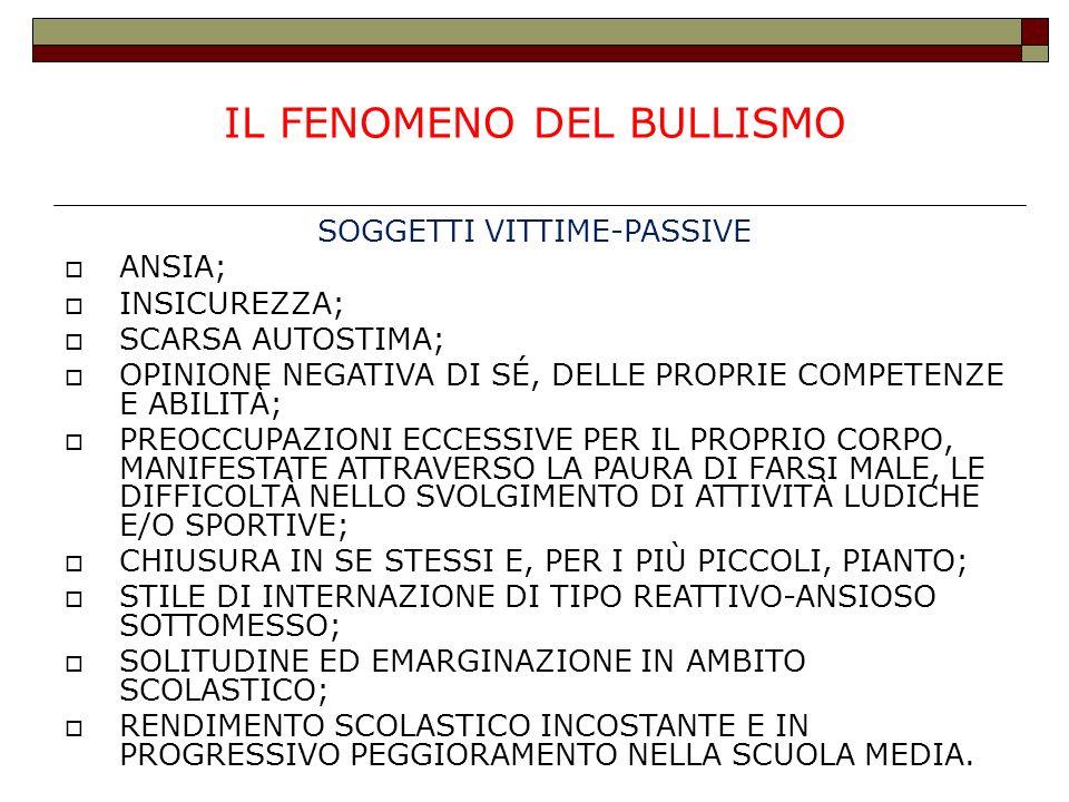 IL FENOMENO DEL BULLISMO SOGGETTI VITTIME-PASSIVE ANSIA; INSICUREZZA; SCARSA AUTOSTIMA; OPINIONE NEGATIVA DI SÉ, DELLE PROPRIE COMPETENZE E ABILITÀ; P