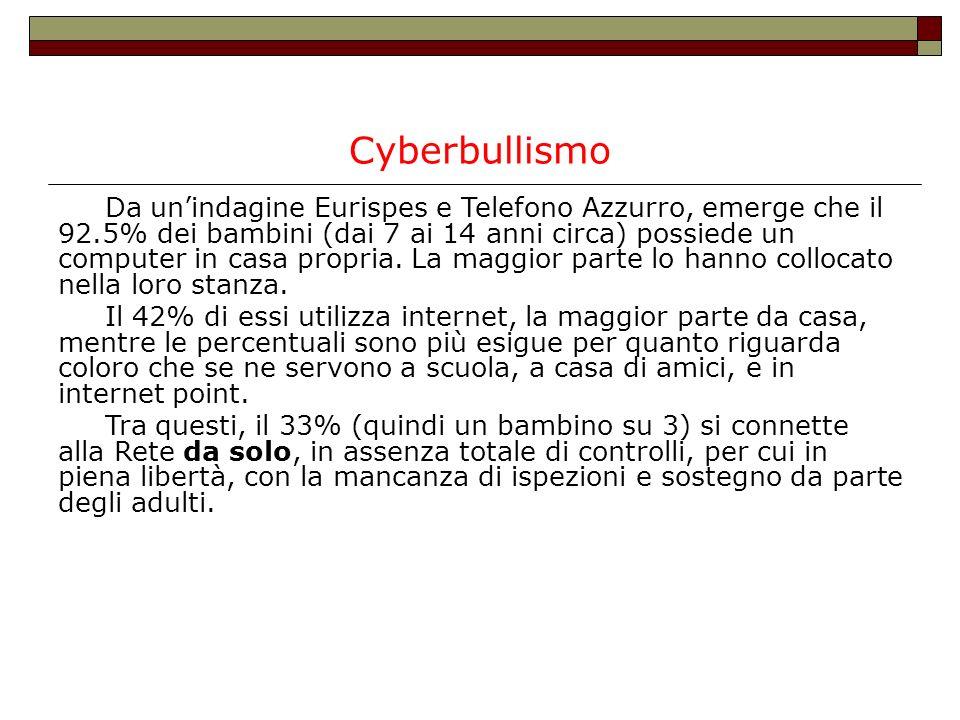 Cyberbullismo Da unindagine Eurispes e Telefono Azzurro, emerge che il 92.5% dei bambini (dai 7 ai 14 anni circa) possiede un computer in casa propria