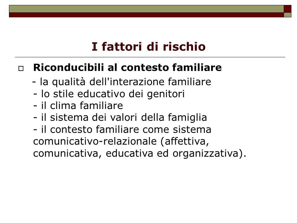 I fattori di rischio Riconducibili al contesto familiare - la qualità dell'interazione familiare - lo stile educativo dei genitori - il clima familiar