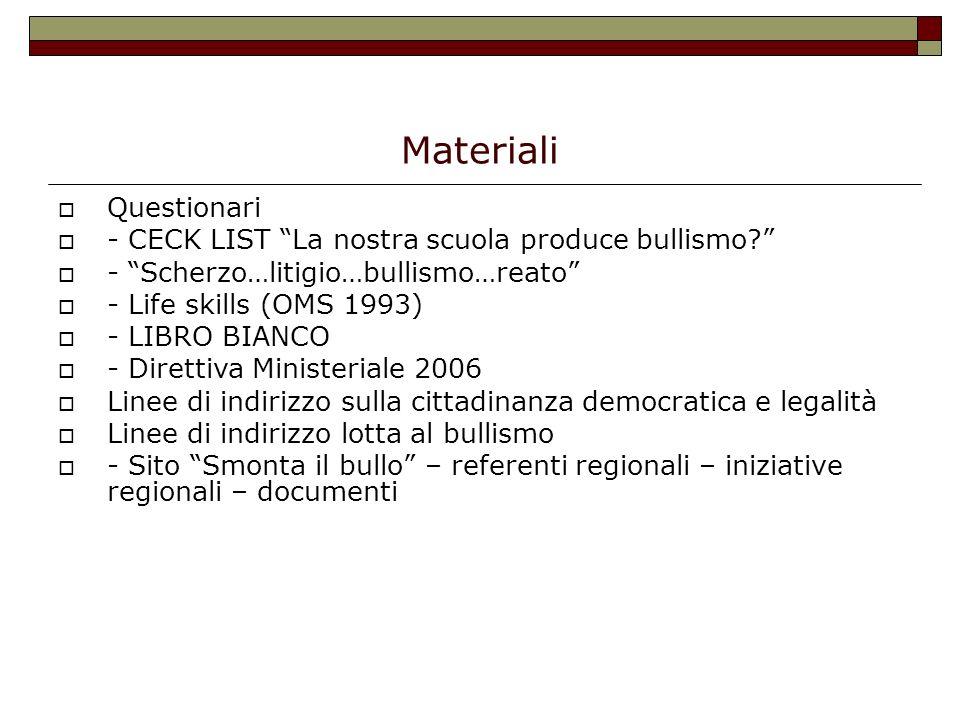 Materiali Questionari - CECK LIST La nostra scuola produce bullismo? - Scherzo…litigio…bullismo…reato - Life skills (OMS 1993) - LIBRO BIANCO - Dirett