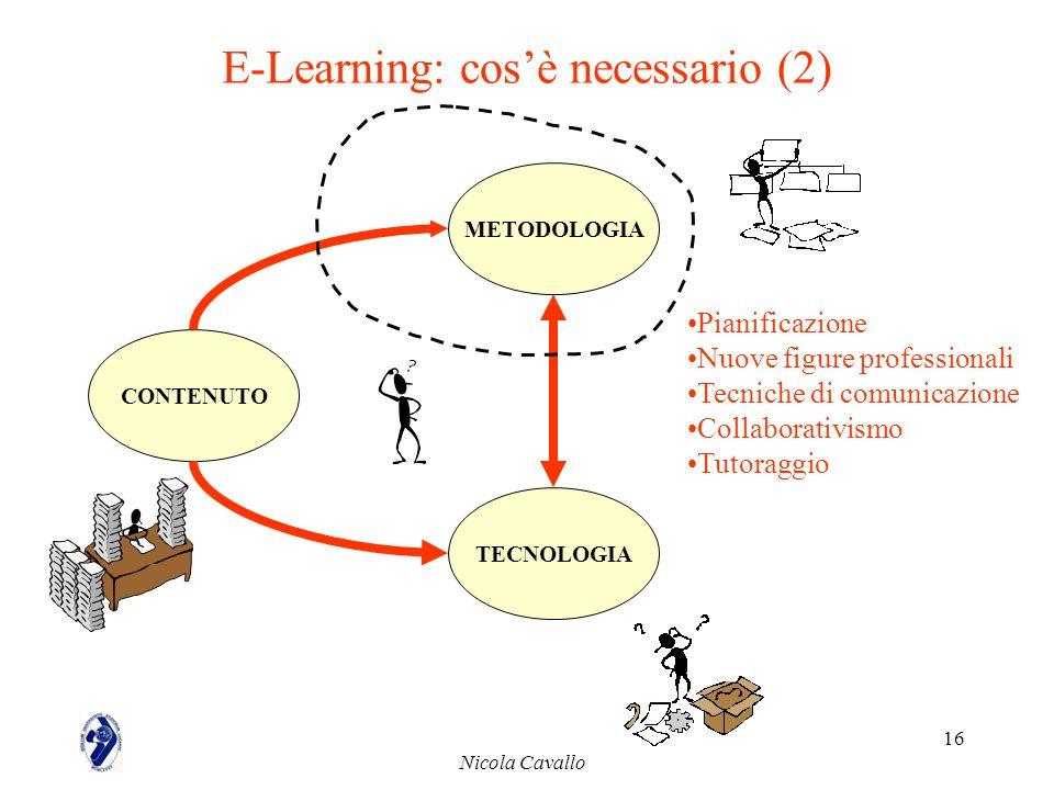 Nicola Cavallo 16 E-Learning: cosè necessario (2) CONTENUTO METODOLOGIA TECNOLOGIA Pianificazione Nuove figure professionali Tecniche di comunicazione
