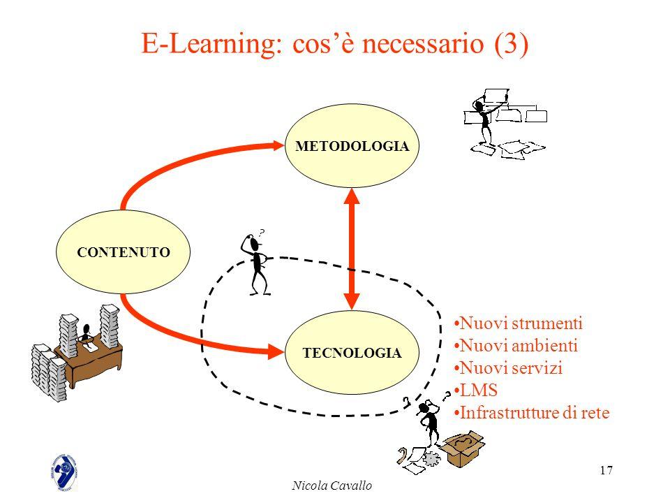 Nicola Cavallo 17 E-Learning: cosè necessario (3) CONTENUTO METODOLOGIA TECNOLOGIA Nuovi strumenti Nuovi ambienti Nuovi servizi LMS Infrastrutture di