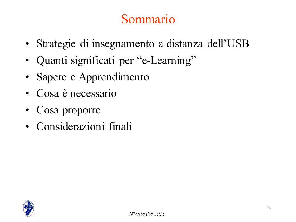 Nicola Cavallo 2 Sommario Strategie di insegnamento a distanza dellUSB Quanti significati per e-Learning Sapere e Apprendimento Cosa è necessario Cosa