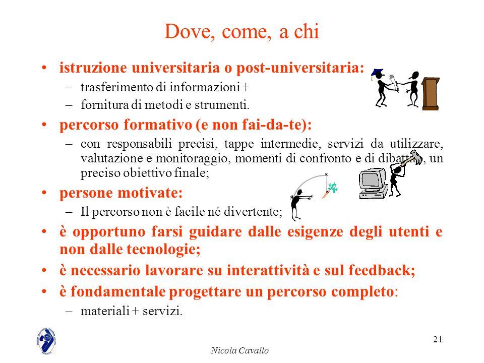Nicola Cavallo 21 Dove, come, a chi istruzione universitaria o post-universitaria: –trasferimento di informazioni + –fornitura di metodi e strumenti.