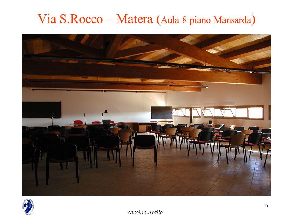 Nicola Cavallo 6 Via S.Rocco – Matera ( Aula 8 piano Mansarda )