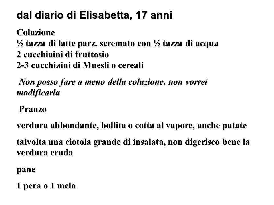 dal diario di Elisabetta, 17 anni Colazione ½ tazza di latte parz. scremato con ½ tazza di acqua 2 cucchiaini di fruttosio 2-3 cucchiaini di Muesli o