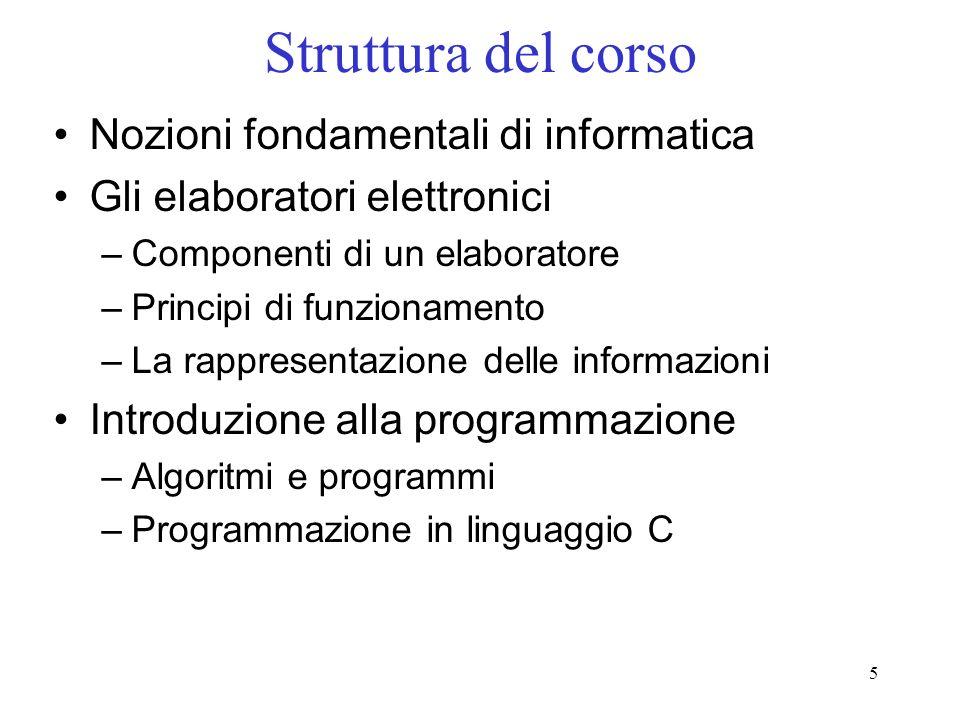 5 Struttura del corso Nozioni fondamentali di informatica Gli elaboratori elettronici –Componenti di un elaboratore –Principi di funzionamento –La rap