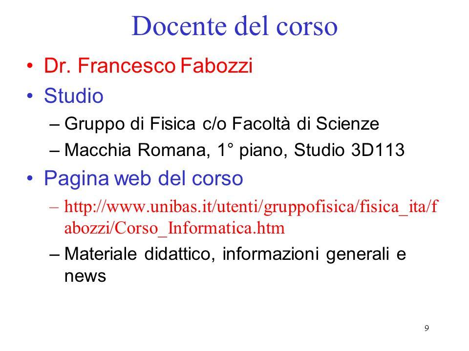 9 Docente del corso Dr. Francesco Fabozzi Studio –Gruppo di Fisica c/o Facoltà di Scienze –Macchia Romana, 1° piano, Studio 3D113 Pagina web del corso