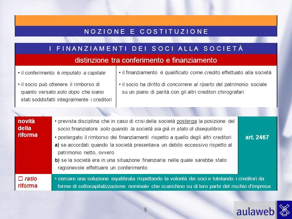 5 I F I N A N Z I A M E N T I D E I S O C I A L L A S O C I E T À novità della riforma distinzione tra conferimento e finanziamento il conferimento è