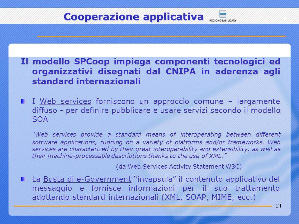 21 Cooperazione applicativa Il modello SPCoop impiega componenti tecnologici ed organizzativi disegnati dal CNIPA in aderenza agli standard internazio