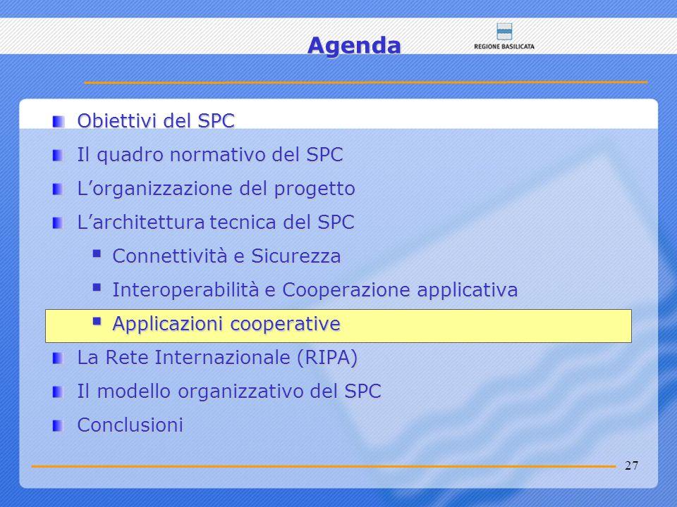 27 Agenda Obiettivi del SPC Il quadro normativo del SPC Lorganizzazione del progetto Larchitettura tecnica del SPC Connettività e Sicurezza Connettivi