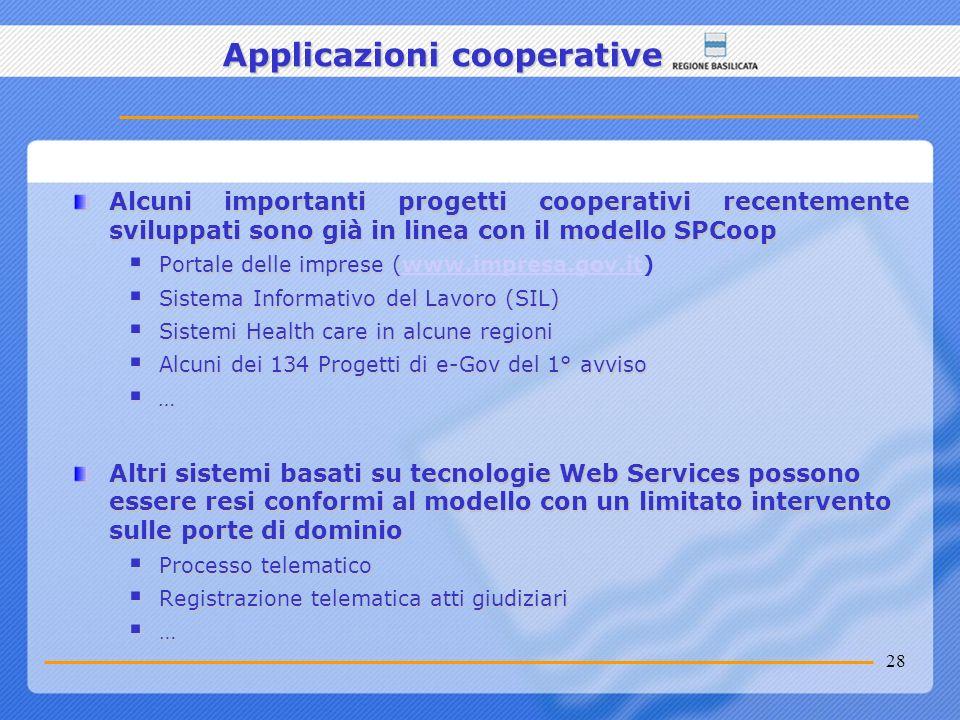 28 Applicazioni cooperative Alcuni importanti progetti cooperativi recentemente sviluppati sono già in linea con il modello SPCoop Portale delle impre